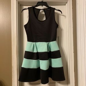 Mint and Black Cocktail Dress